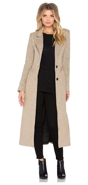 Smythe Brando coat in tan - Self: 48% wool 18% polyamide 11% viscose 10% poly 8%...