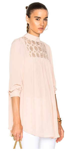 Smythe Eyelet Tunic Top in neutrals,pink