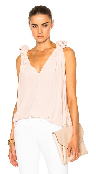 Smythe Knot Blouse in blush - 100% poly. Made in Canada. Dry clean only. Knot accents...