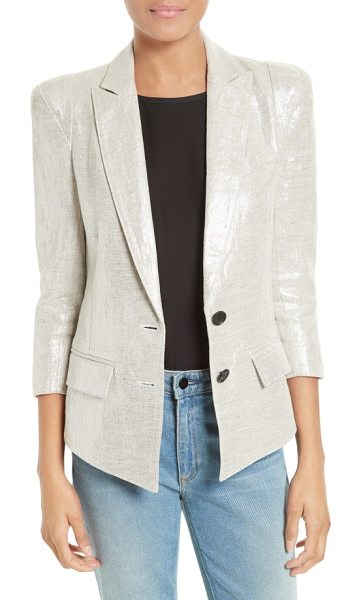 Smythe pagoda metallic linen blazer in metallic - Peaked lapels, oversized shoulders and tapered front...