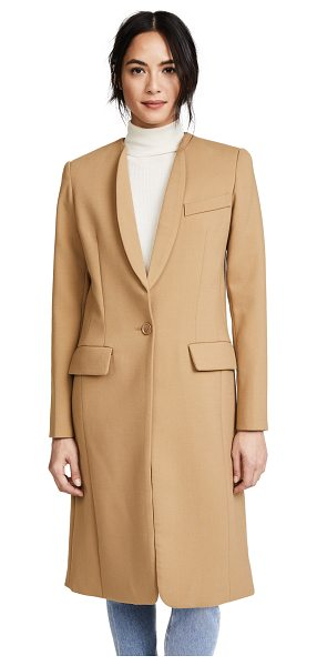 Smythe skinny lapel coat in camel - Skinny lapels add a sophisticated look to this long...