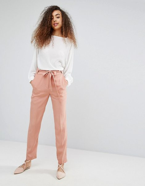 "Soaked in Luxury Soaked In Luxury Silky Belted Pant in pink - """"Pants by Soaked In Luxury, Soft-touch silky-feel..."