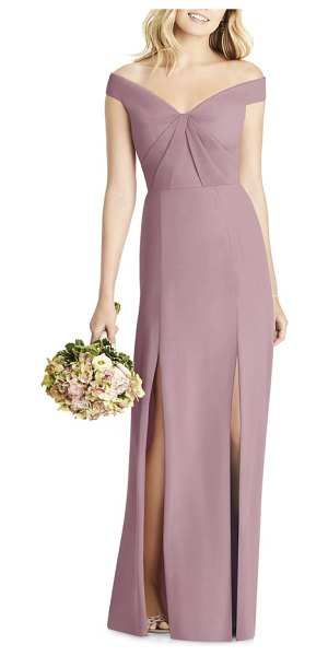 Social Bridesmaids off the shoulder chiffon gown in brown