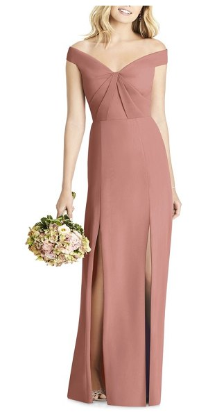 Social Bridesmaids off the shoulder chiffon a-line gown in pink