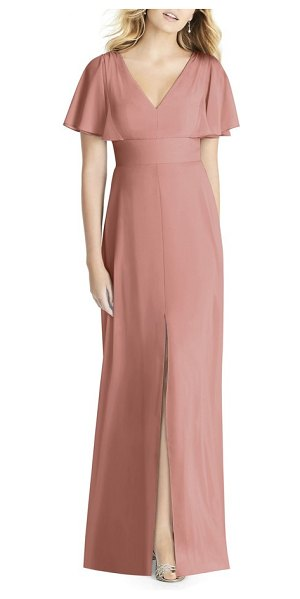 Social Bridesmaids split sleeve chiffon gown in pink - A wide inset waist defines the figure for an enchanting,...