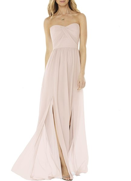 Social Bridesmaids strapless georgette gown in blush - Draped pleats wrap the bodice of a romantic gown that...