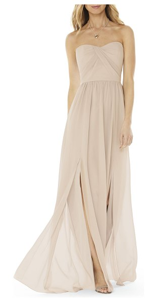 Social Bridesmaids strapless georgette gown in beige