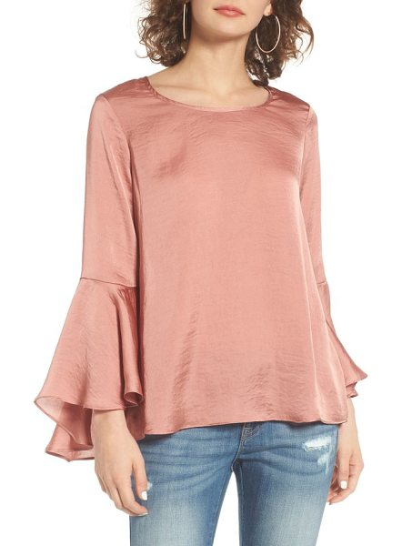 Socialite bell sleeve top in blush - Fluttery bell sleeves give a relaxed, bohemian air to a...