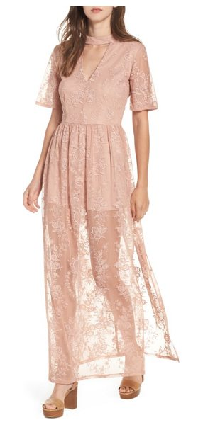Socialite choker lace maxi romper in pink adobe - Perfect for packing on your next tropical vacation, this...