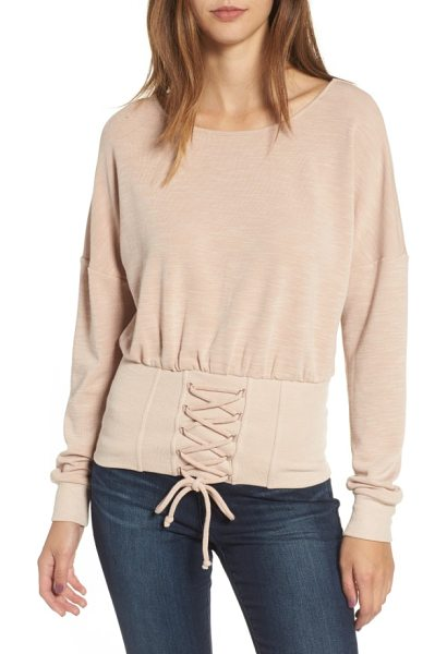 Socialite corset sweatshirt in blush - Victorian romance meets relaxed ease in a drop-shoulder...