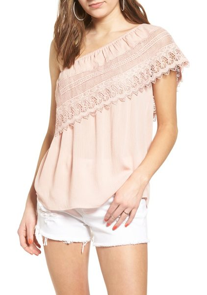 SOCIALITE crochet one-shoulder top - A swath of beautiful crochet lace envelops this draped...
