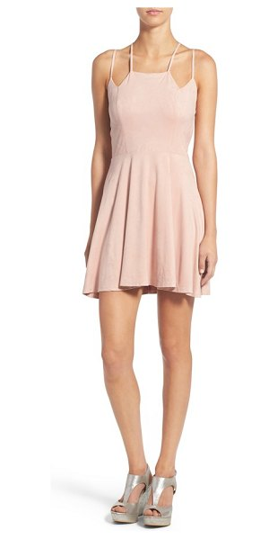 Socialite cross back faux suede skater dress in blush - Faux suede adds soft, supple texture to an eye-catching...