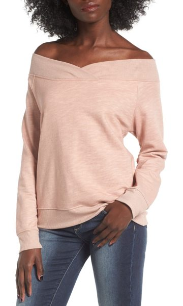 SOCIALITE off the shoulder sweatshirt - Pulled off the shoulder (a styling trick that appeared...