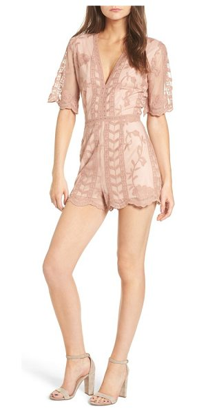 Socialite plunging lace romper in dark mauve - Trailing leaves and blossoming roses stand out atop the...