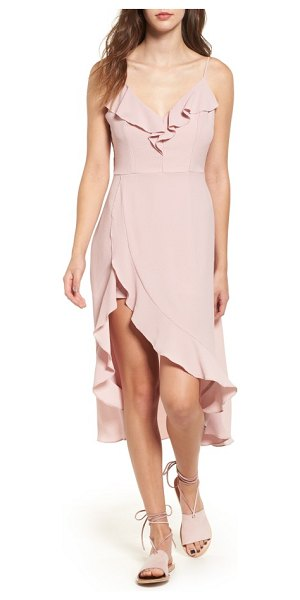 Socialite ruffle maxi romper in dusty lilac - A ruffle-trimmed wrap skirt parts at the side to show...