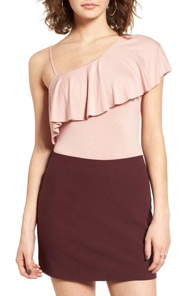 Socialite ruffle one-shoulder bodysuit in dusty pink - A flouncy ruffle adds playful movement to a stretchy...
