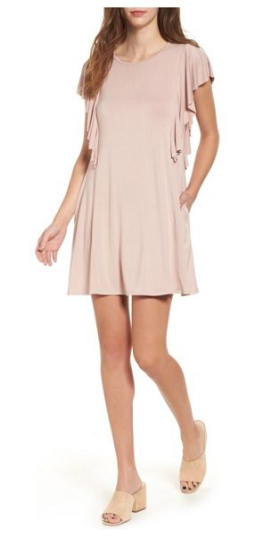 Socialite ruffle sleeve t-shirt dress in pink adobe - Slip your hands into the hidden pockets and sashay...