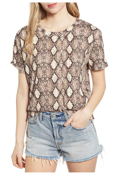 Socialite snake print tee in brown - A scaly reptilian print adds feisty style to an...