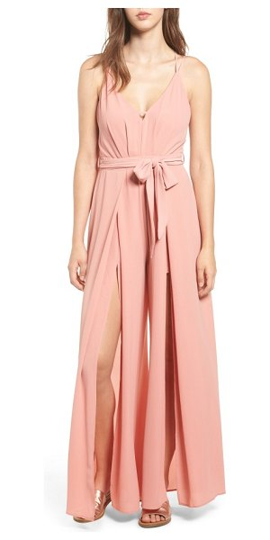 Socialite split leg jumpsuit in blush - Dramatic slits from hip to hem create breezy movement in...