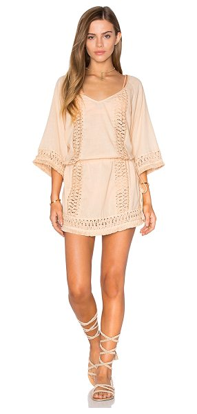 SOFIA by ViX Crochet Caftan in tan - 100% cotton. Hand wash cold. Unlined. Drawstring waist....