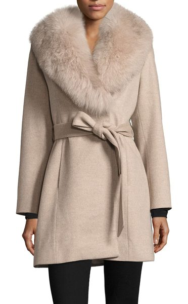 Sofia Cashmere fox fur-trimmed wool wrap coat in stone - A lavish fox fur collar defines this wool-blend coat....