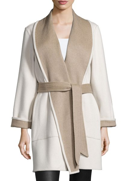 Sofia Cashmere Reversible Double-Face Wrap Coat in taupe/ivory - Sofia Cashmere double-face, two-tone coat with...