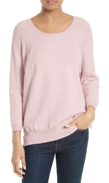 Soft Joie aimi cotton blend sweater in heather pale pink - A wide crewneck and raglan sleeves define the laid-back...