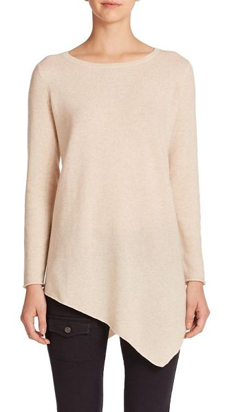 Joie Tambrel asymmetrical hem wool/cashmere sweater in heathercream - A pointed handkerchief hem in front and back creates...