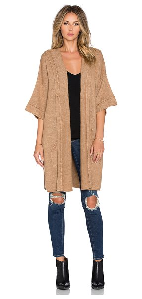 SOH Cozy hood poncho in brown - 55% baby camel 45% nylon. Dry clean only. Open front....