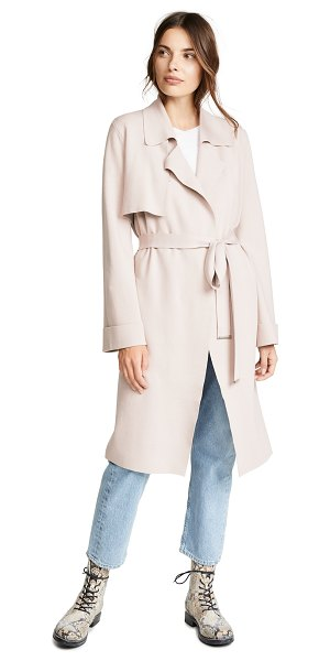 Soia & Kyo caisa trench coat in pearl - Fabric: Knit Raw hem Knee length Collared neck Long...