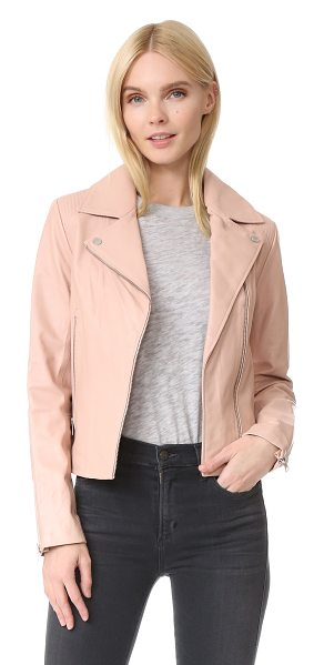 Soia & Kyo megane leather jacket in rose - A Soia & Kyo leather jacket with a classic moto look....
