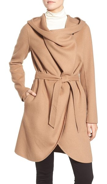 Soia & Kyo reversible double face hooded wrap jacket in camel - Boldly draped, oversized front panels add a witty,...