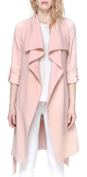 Soia & Kyo roll sleeve drape front long trench coat in rose - A long trench coat is reimagined for a softer look with...