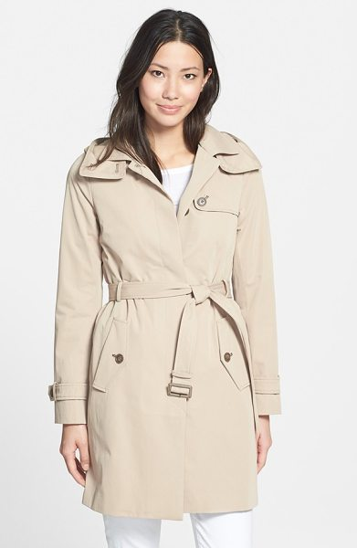 Soia & Kyo single breasted belted long trench coat in sand - A detachable hood and removable quilted lining add...