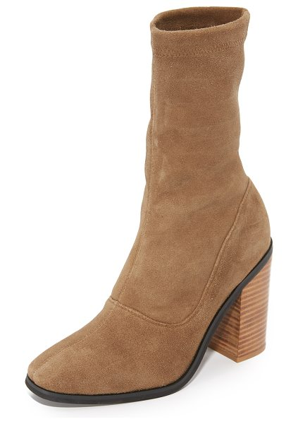 Sol Sana chloe stretch booties in cognac - Sophisticated Sol Sana booties in stretch, faux-suede....