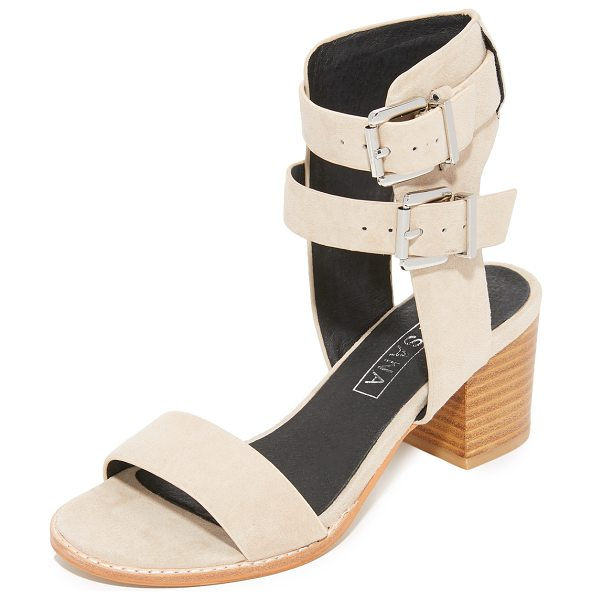 Sol Sana porter heel city sandals in ecru - Luxe suede Sol Sana sandals styled with a substantial...