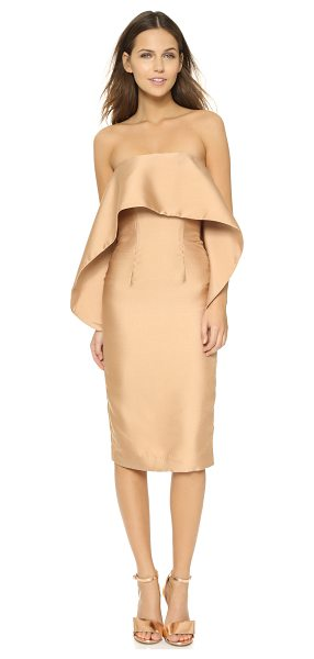 SOLACE London Bridget dress in nude - An oversized overlay accents the boned bodice of this...