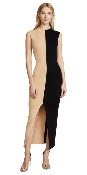 SOLACE London intarsia dress in bone/black - Fabric: Ribbed knit Front slit Colorblock print Body-con...