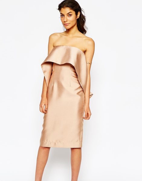 SOLACE London London midi pencil dress with frill overlay in nude - Midi dress by Solace London Silky-feel woven fabric...