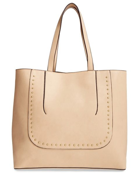 Sole Society adelaine studded faux leather tote in latte - Polished dome studs and pieced construction add textural...