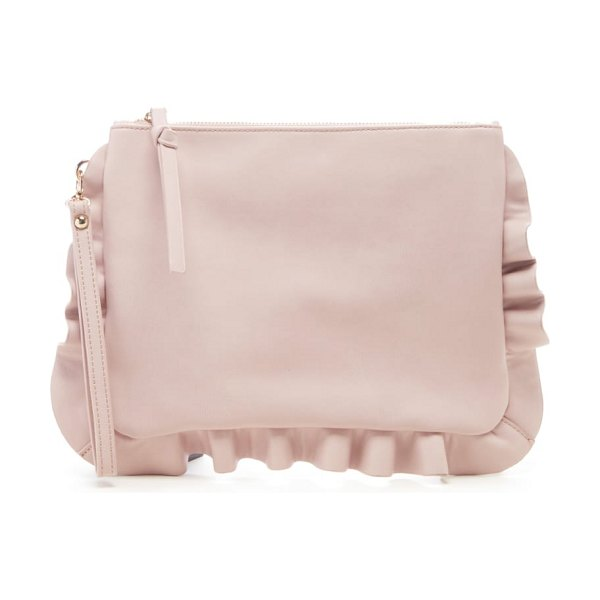 Sole Society adelina faux leather ruffle clutch in pink - Ruffles soften the structured silhouette of a...