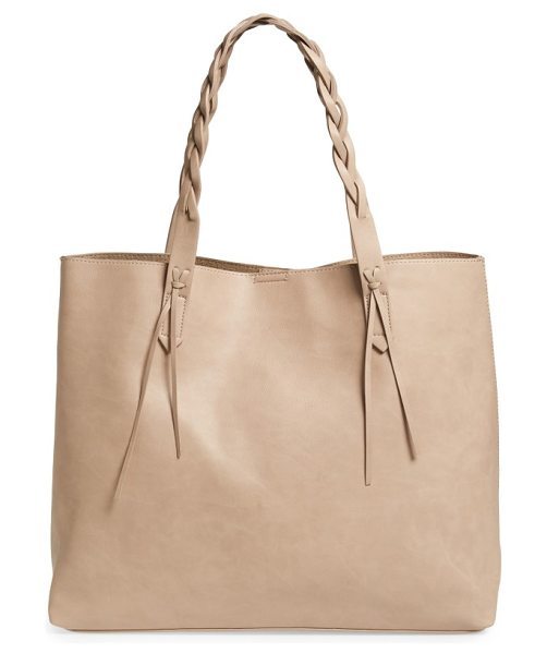 Sole Society amal faux leather tote in taupe - Braided handles add a fresh element to a spacious...