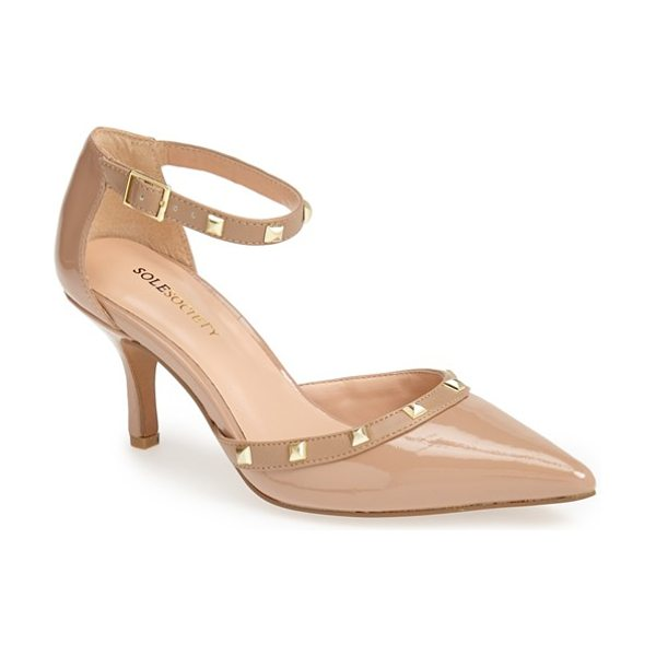 Sole Society 'anneke' pump in adobe - Polished pyramid studs punctuate the ankle strap and...