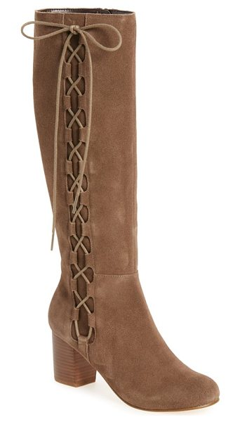 Sole Society arabella knee high lace-up boot in taupe suede - Dramatic tonal lacing crisscrosses up the shaft of a...