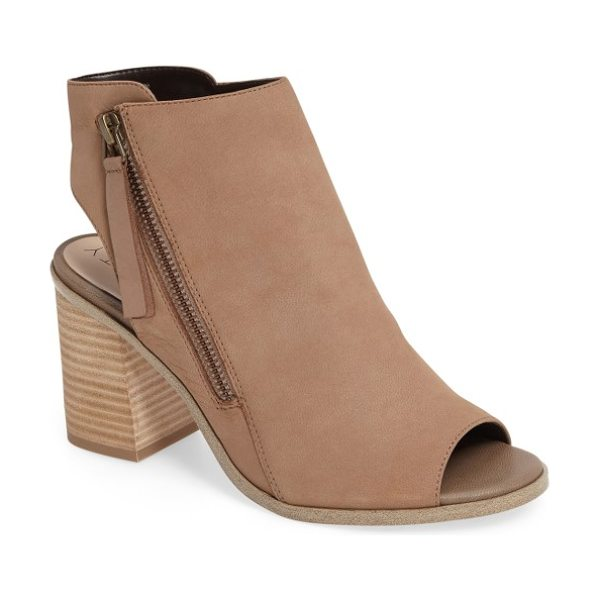 Sole Society arizona block heel peep-toe bootie in night taupe - An angled zipper and a segmented topline distinguish a...