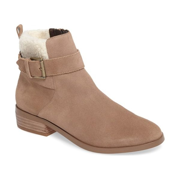 Sole Society austen bootie in taupe - A plush faux shearling cuff enhances the coziness of a...