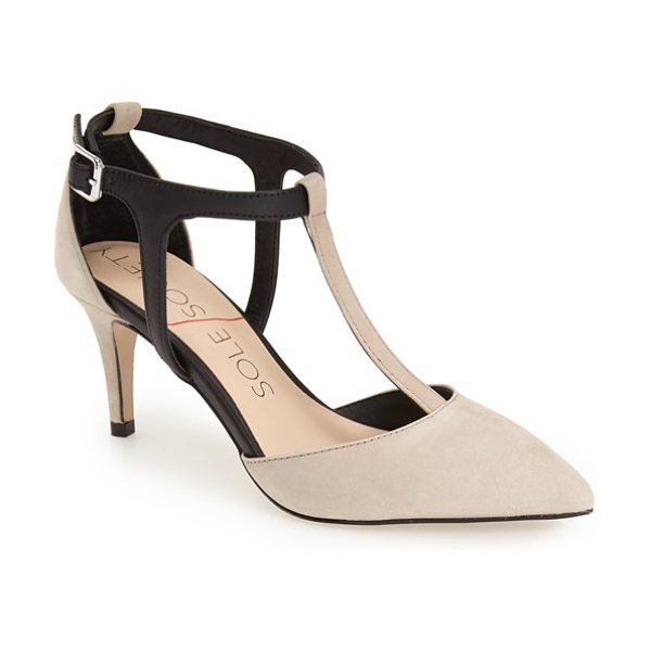 Sole Society avia bicolor t-strap pump in taupe/ black nubuck