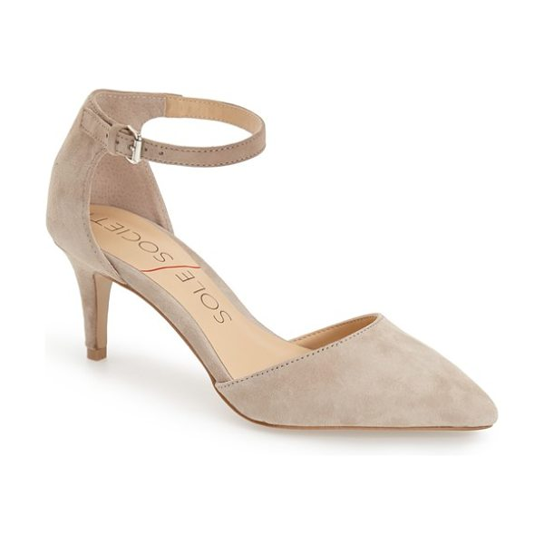 Sole Society ayla pump in taupe suede - A skinny ankle strap tops a chic pump crafted with a...