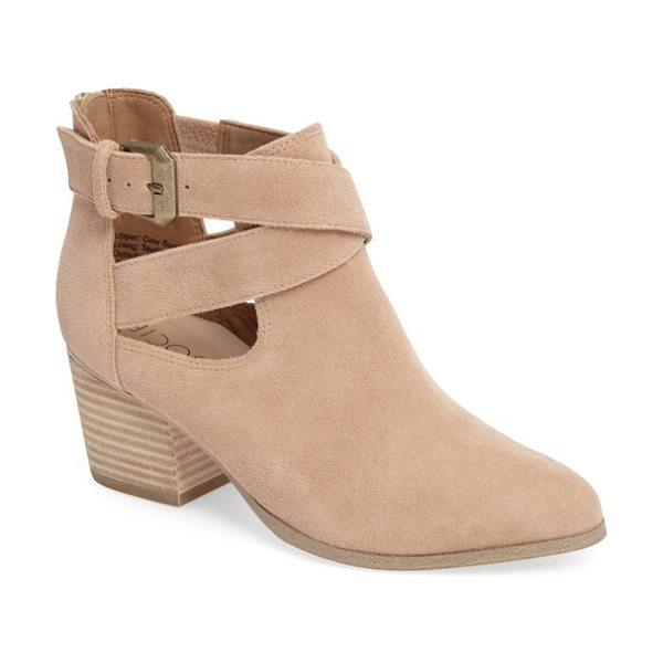 SOLE SOCIETY azure bootie - A wraparound buckle strap and stacked heel add subtle...