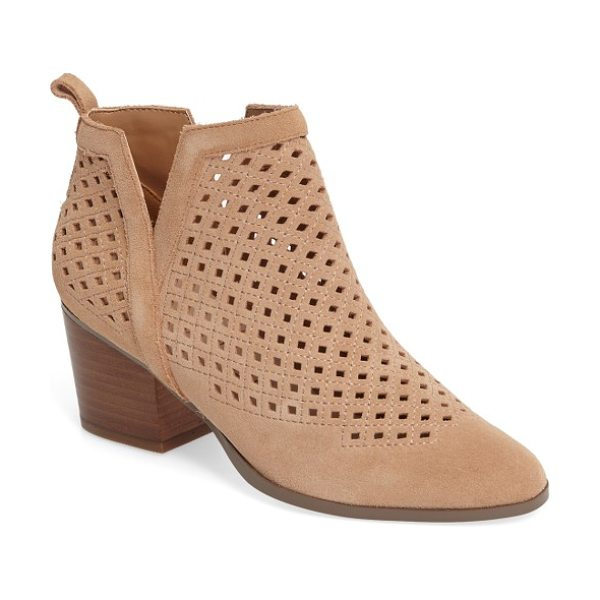 Sole Society barcelona bootie in caramel - Tonal stitching highlights the diamond cutouts of a...